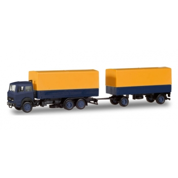1/87 Iveco Magirus canvas cover Trailer yellow/blue Herpa