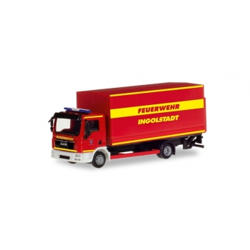 "1/87 Herpa MAN TGL canvas truck with liftgate ""Ingolstadt fire department"""