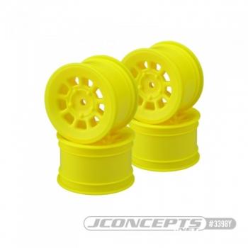 "JConcepts 9 shot - B6.1, B74 | YZ2, YZ4 | XB2, XB4 | RB7, ZX7 | SRX-2, SDX-4 | KC, KD, L1 | D418, 2.2"" rear wheel (yellow) - 4pc"