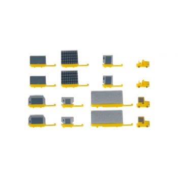 1/500 Airport accessories: container trailers new (2x 2 rigid tractors, 2x 6 container)