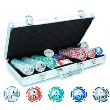 Pokkerikohver 300 žetooni(11,5g) väärtustega