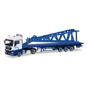 "1/87  MAN TGX XLX 6c flatbed semitrailer with end piece for Liebherr LR 1600/2 ""Wasel"" Herpa"