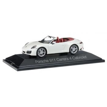1/43 Porsche 911 Carrera 4 Cabriolet, carrara white metallic