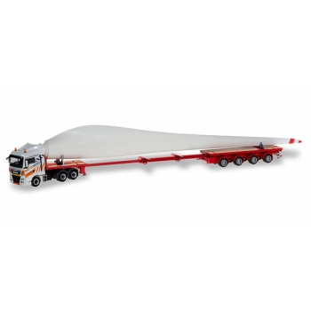 "1/87 MAN TGX XLX teletrailer truck with wind turbine wing ""Gatto Wind Herpa"