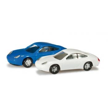 1/160 N-passenger cars set Porsche 911, blue/white Content: 2 pcs HERPA