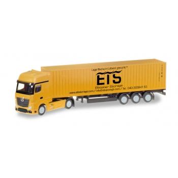 """1/160 Mercedes-Benz Actros Gigaspace LH container trailer """"Elbtainer Storage"""" HERPA"""