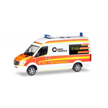 "1/87 Mercedes-Benz Sprinter bus high roof ""Rescue Car Dülmen Emergency Service""  Herpa"