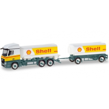 """1/87 Mercedes-Benz Actros StreamSpace Shell fuel tank semitrailer """"Shell"""" Herpa"""