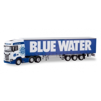 "1/87 Scania CS 20 high-roof 6×2 curtain canvas semitrailer ""Blue Water"" (DK) HERPA"