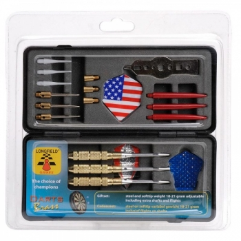Dart giftset, Brass steel and soft tips Longfield