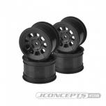 "JConcepts 9 shot - B6.1, B74 | YZ2, YZ4 | XB2, XB4 | RB7, ZX7 | SRX-2, SDX-4 | KC, KD, L1 | D418, 2.2"" rear wheel (black) - 4pc"